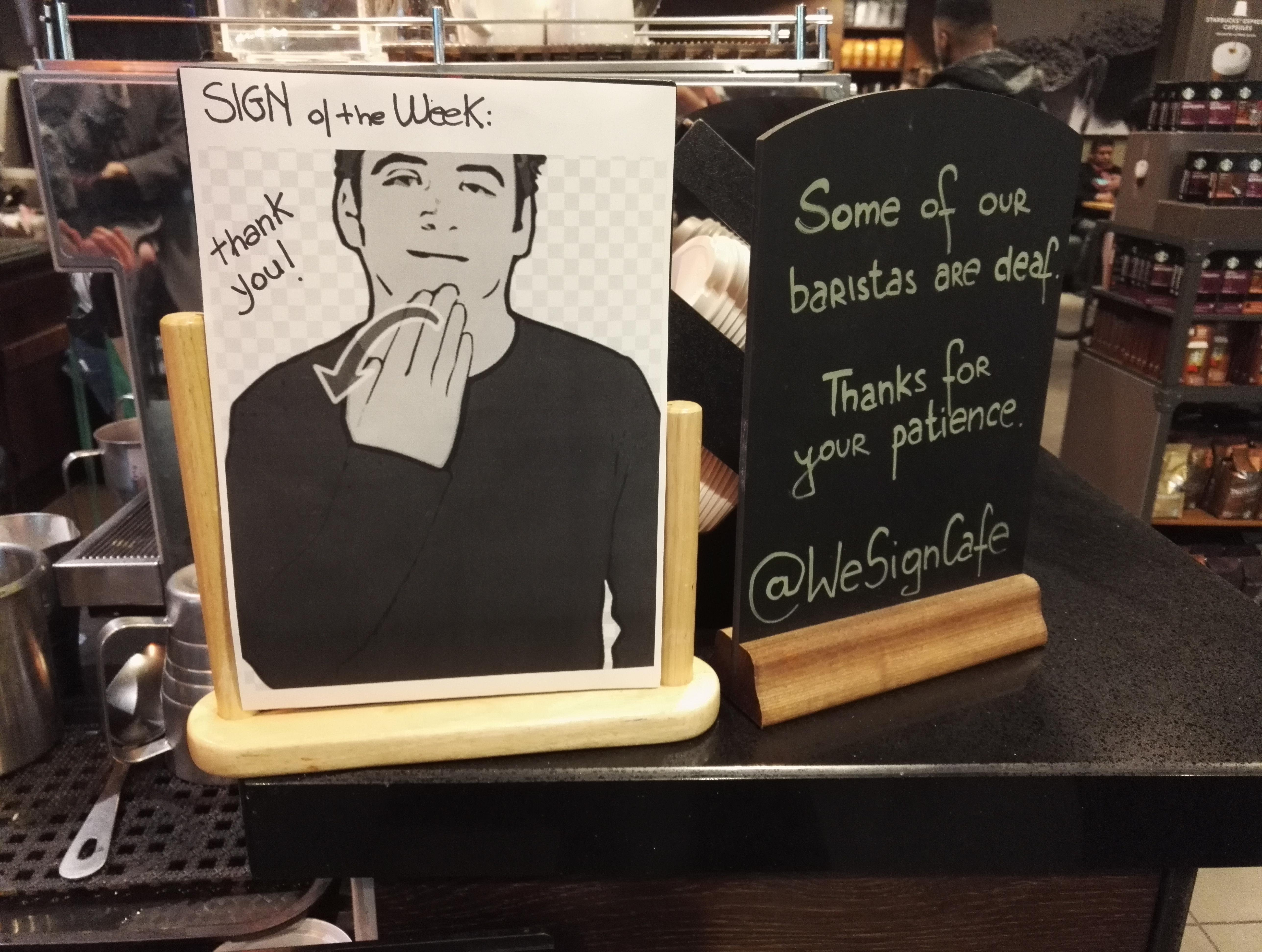 local starbucks does sign of the week for sign language put me like · local starbucks does 'sign of the week' for sign language