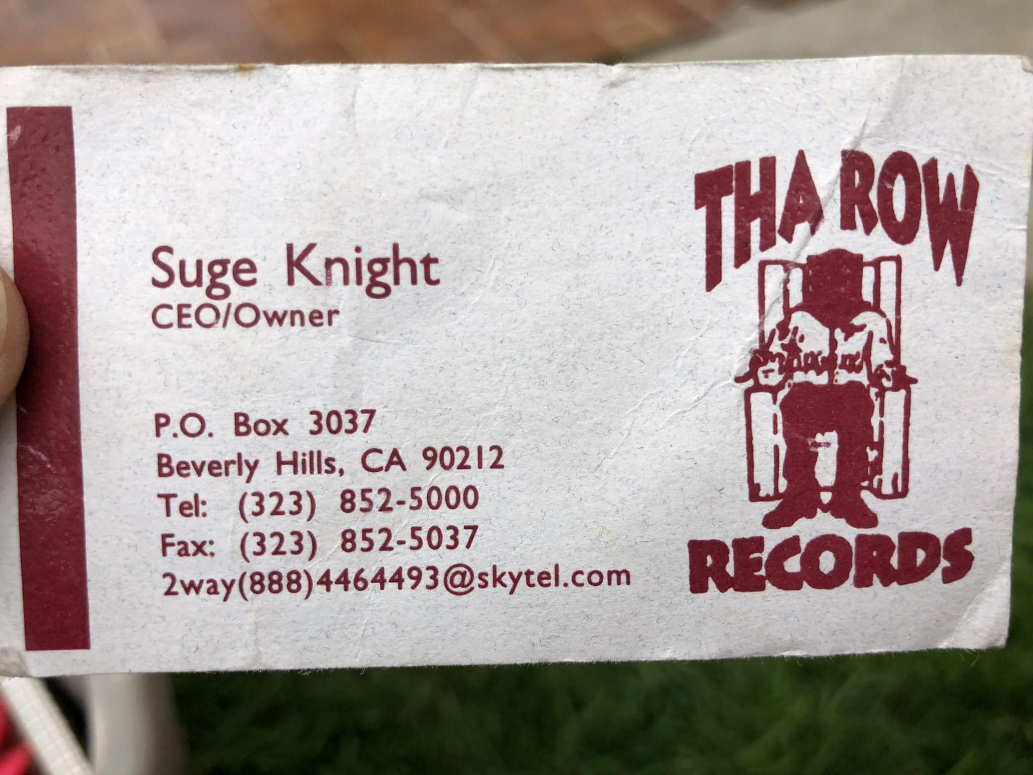 Friend of mine has Suge Knight\'s old business card – PUT ME LIKE