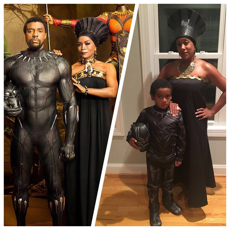 mother/son 'black panther' halloween costume – put me like