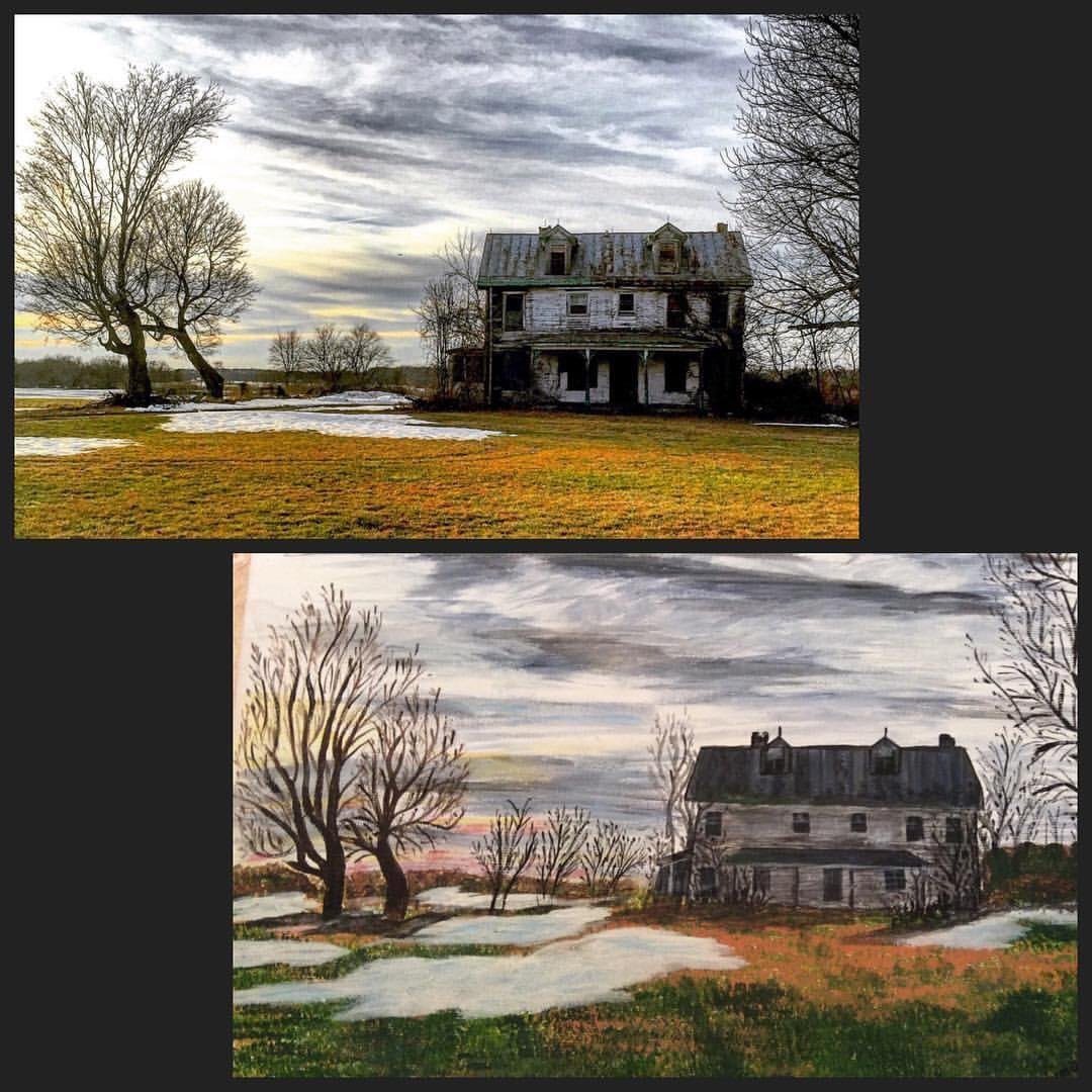 My 90 year old grandmother painted a photo I took of an abandoned farmhouse. (Emotional fluff in comments)