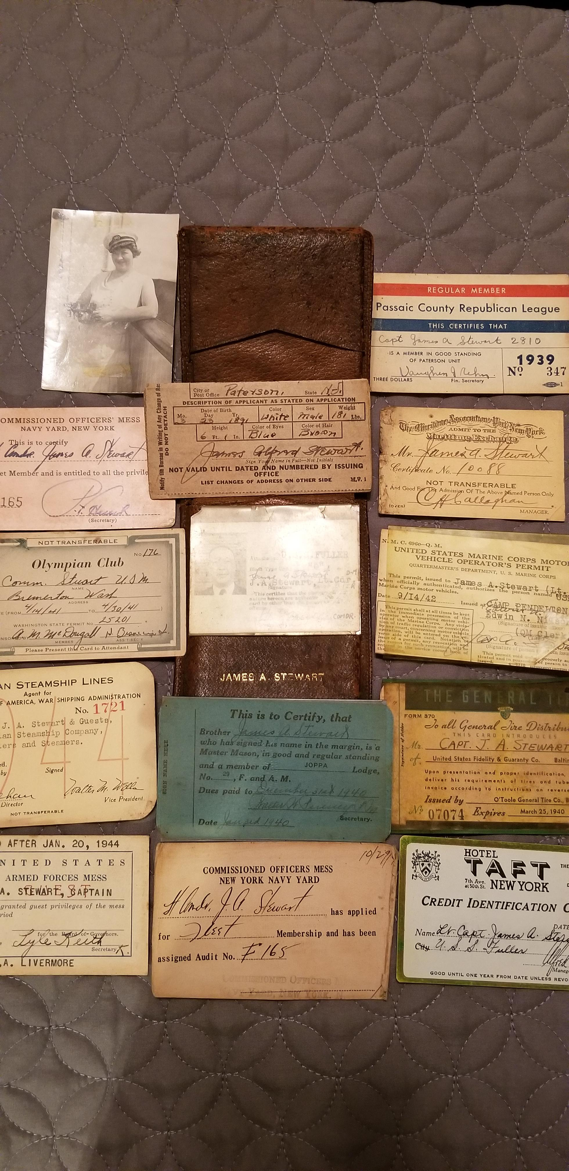 My Great Grandfather's wallet and its contents, as it was the day he was killed in WWII.