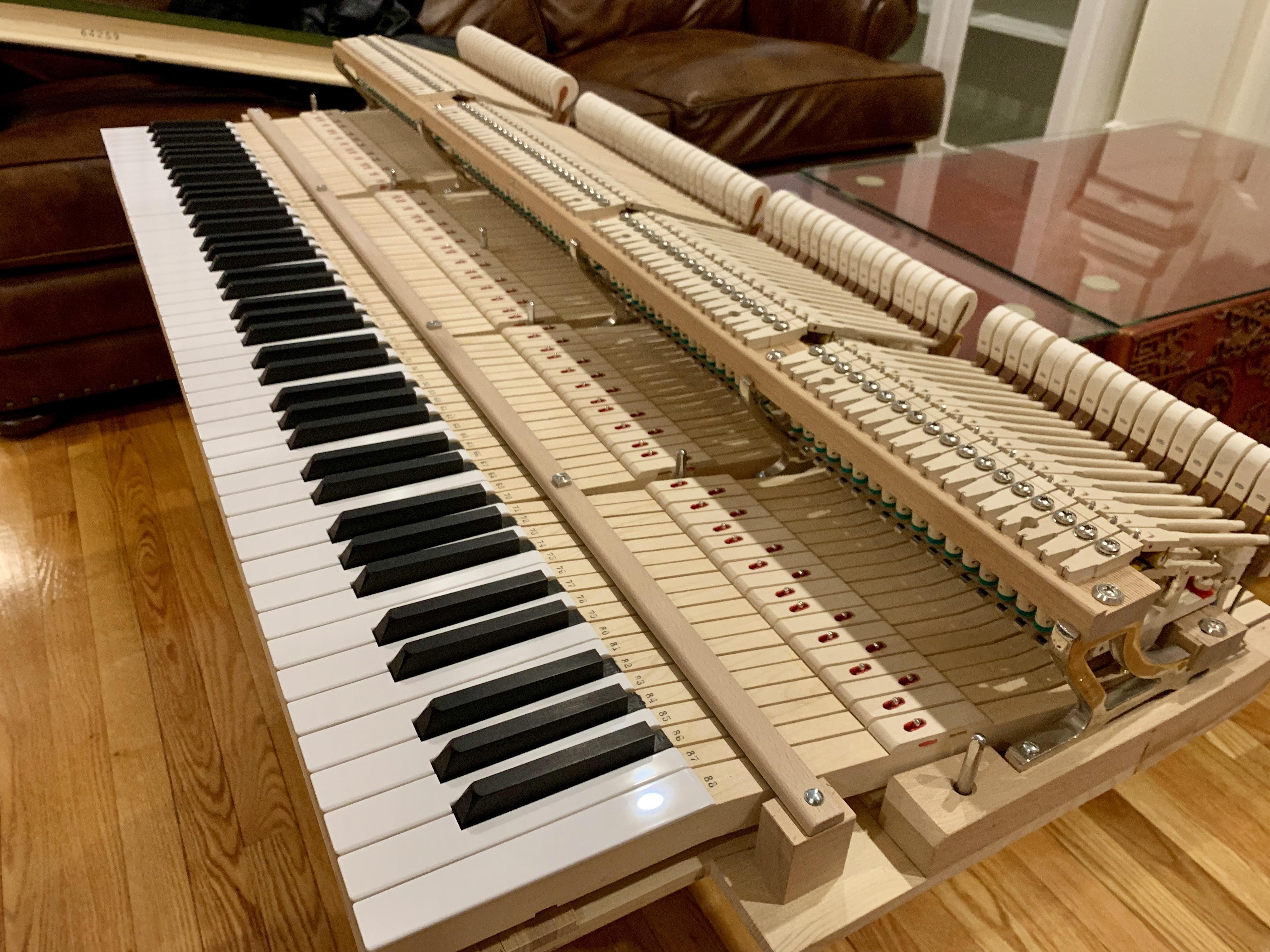 "Piano tuner opened up my piano and slid it out of its ""shell"" to straighten the hammers."