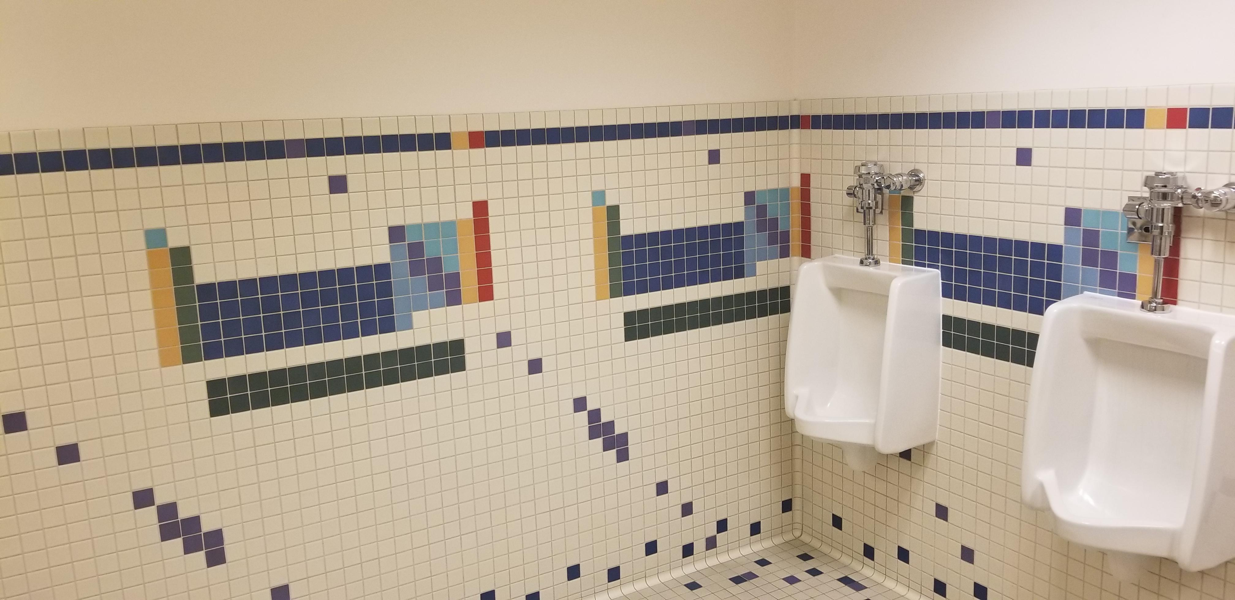 The bathroom in our science building has the periodic table in tiles