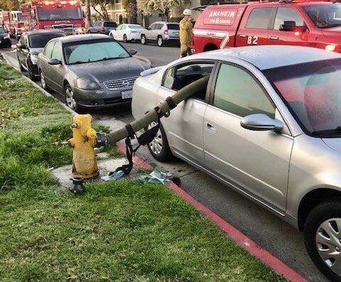 This is what happens when you park in front of a fire hydrant and a fire breaks out