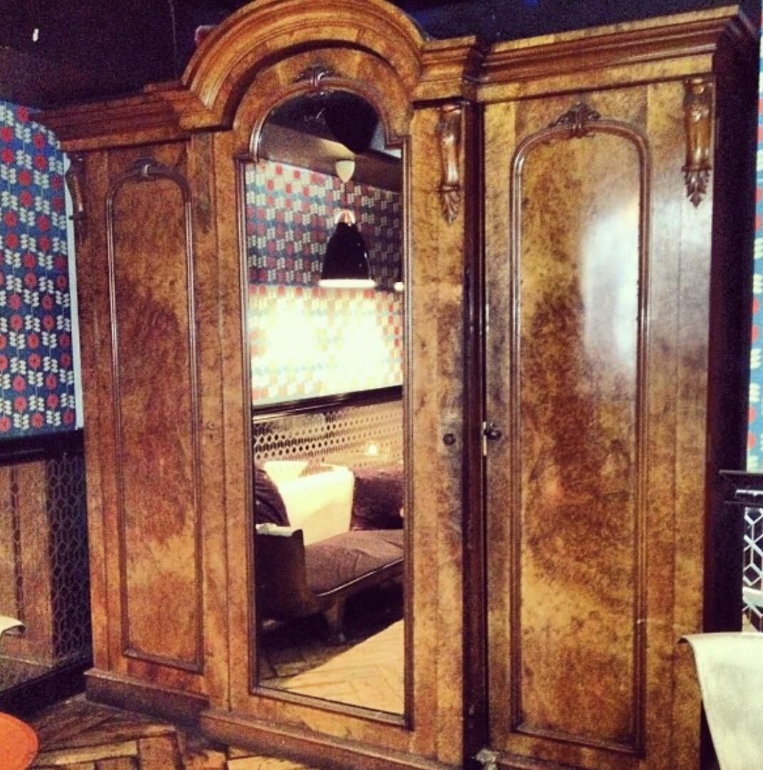 This may look like an antique Wardrobe but it's actually a door to a secret Bar I went too last night in London.